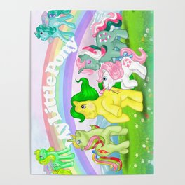 g1 my little pony Mimic, Fizzy, Magic Star, baby Sundance and Flutters Poster