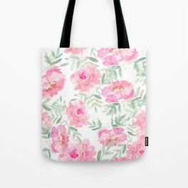 Watercolor Peonie with greenery Tote Bag