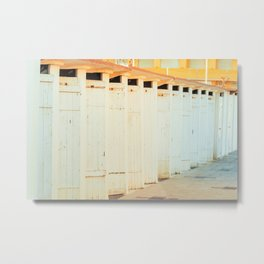 Beach cabins shortly after dawn in winter Metal Print