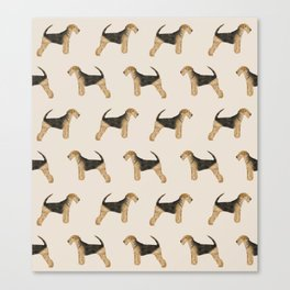 Airedale Terrier pattern dog breed cute custom dog pattern gifts for dog lovers Canvas Print