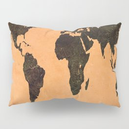 Grungy Abstract World Map Pillow Sham