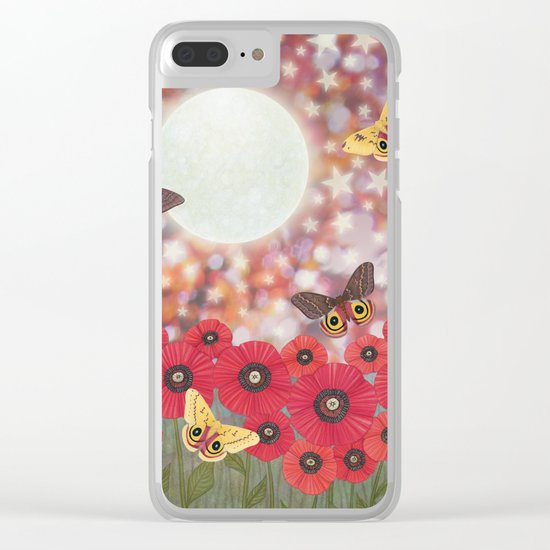 the moon, stars, io moths, & poppies Clear iPhone Case