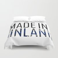 finland Duvet Covers featuring Made In Finland by VirgoSpice