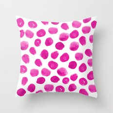 Lila - pink polka dots painted abstract minimal modern office dorm college decor Throw Pillow