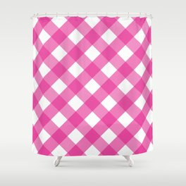 Pink & White Checkered Pattern-Mix and Match with Simplicity of Life Shower Curtain