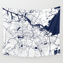 Amsterdam White on Navy Street Map Wall Tapestry