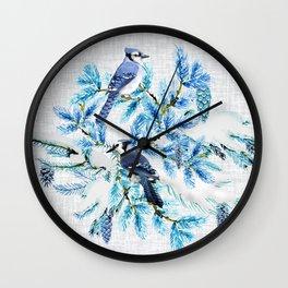 WINTER BLUE JAYS Wall Clock