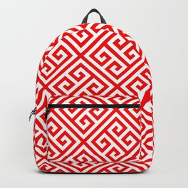 red, white pattern, Greek Key pattern -  Greek fret design Backpack