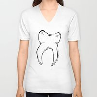 tooth V-neck T-shirts featuring Tooth by Addison Karl