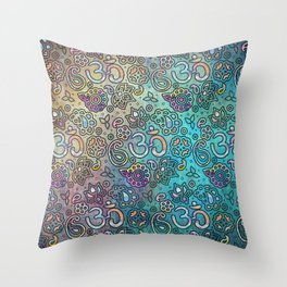 Pastel  Turquoise watercolor  OM symbol pattern Throw Pillow