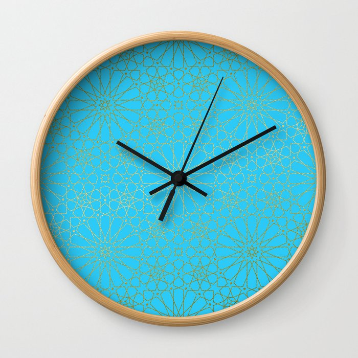 Moroccan Nights - Gold Teal Mandala Pattern - Mix & Match with Simplicity of Life Wall Clock