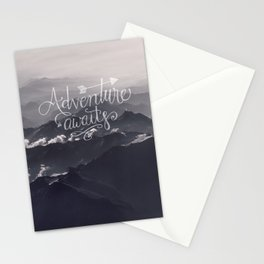 Adventure awaits Typography Gorgeous Mountain View Stationery Cards
