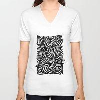 zebra V-neck T-shirts featuring zebra by junipat