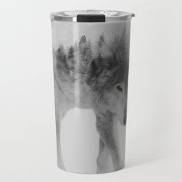 Wolf In The Woods (black & white version) Travel Mug