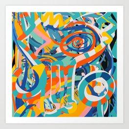 Abstract Tribal Art Joyful Street Art Pastel Colors by Emmanuel Signorino Art Print