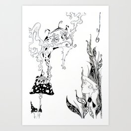 Alice meets Caterpillar Art Print