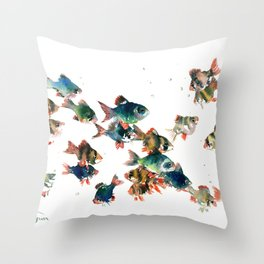 Barb Fish, Aquatic Blue Turquoise Underwater Scene Throw Pillow