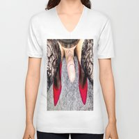 heels V-neck T-shirts featuring Red Heels by TARA SCHLAYER