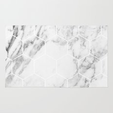 White marble hexagonal beehive Rug