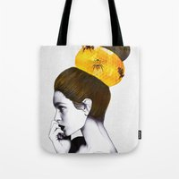 bee Tote Bags featuring The Bee Hive  by Jenny Liz Rome
