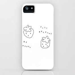 Breathe and Be Happy - Fruit Illustration Self-Love Typography iPhone Case