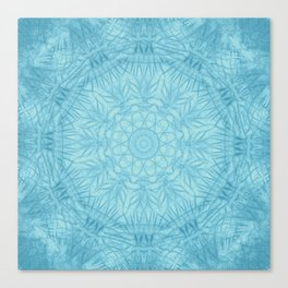 Abstract blue thistle mandala Canvas Print