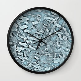 Ocean Tips Silver Blue Abstract Wall Clock