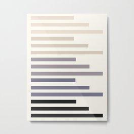 Grey Taupe Geometric Minimalist Staggered Stripes Simple Mid Century Zen Art Metal Print