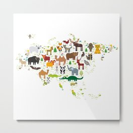 Eurasia animal bison fox wolf horse camel seal Walrus goats Polar bear Eagle bull raccoon snake bear Metal Print