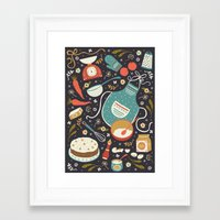 coasters Framed Art Prints featuring Carrot Cake by Anna Deegan