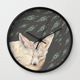 Fennec Fox Feather Dreams in Green & Grey Wall Clock