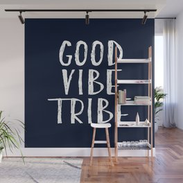 Good Vibe Tribe - Navy Blue and White Wall Mural