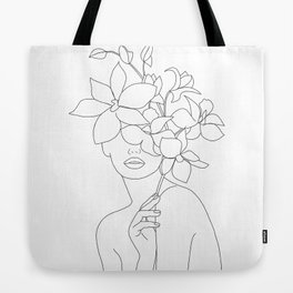Minimal Line Art Woman with Orchids Tote Bag