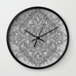 Vintage Winter Monochrome Doodle Wall Clock