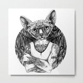 Sphynx Black Metal Print