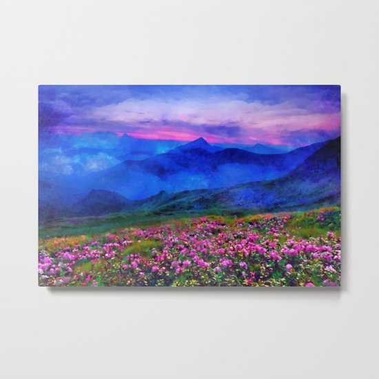Flowering mountains in the clouds Metal Print