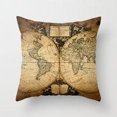 World Map 1752 Throw Pillow