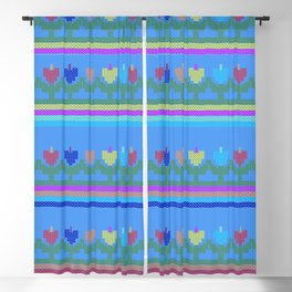 Childish Embroidered Flowers Blackout Curtain