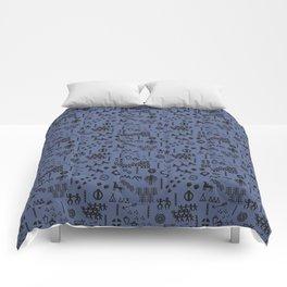 Peoples Story - Black on Blue Comforters