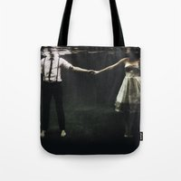 sad Tote Bags featuring abyss of the disheartened : IX by Heather Landis