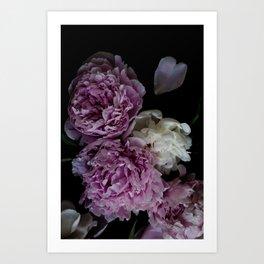 Dark Floral Peony 3 Art Print