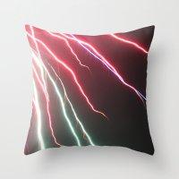 lightning Throw Pillows featuring Lightning by Popko Studio