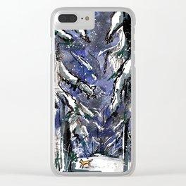Dark winter forest Clear iPhone Case