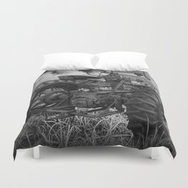 Abandoned Old Farmall Tractor in Black and White Duvet Cover