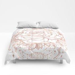 Mandala Lunar Rose Gold Comforters