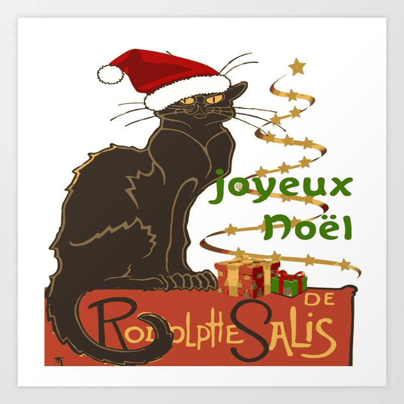 Christmas Parody.Joyeux Noel Le Chat Noir Christmas Parody Art Print