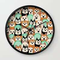 shiba inu Wall Clocks featuring Shiba Inu by Modify New York