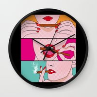 dc comics Wall Clocks featuring comics  by mark ashkenazi