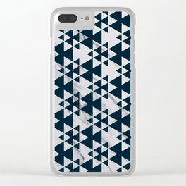 Southwestern Triangle Design over White Grey Marble Clear iPhone Case