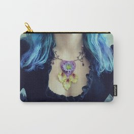 Violet Heart and Green Leaves Carry-All Pouch